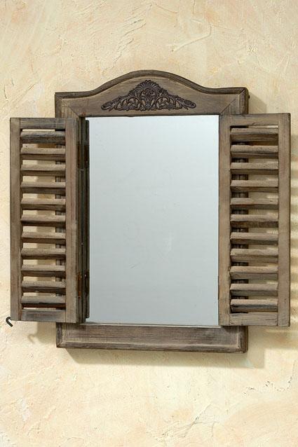 spiegel fensterladen 31x45cm holz glas 0001326. Black Bedroom Furniture Sets. Home Design Ideas