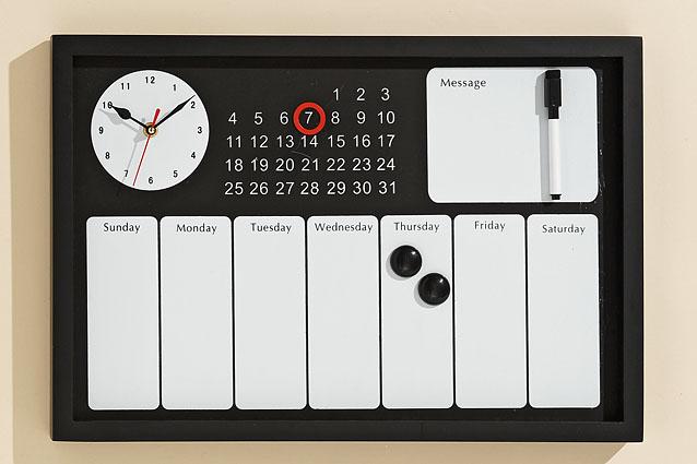 Memotafel aus Holz mit Uhr und Zubehör-0001402