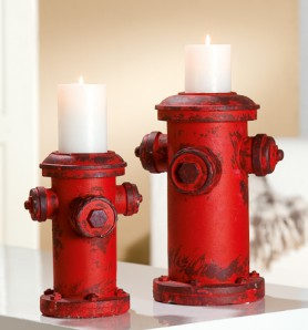 Leuchter Hydrant rot, 22,5 cm hoch