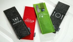 Besteck Täschchen grün, Filz, sortiert, verschiedene Designs, je