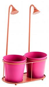 Doppel - Pflanztopf aus Metall mit Dusche, pink