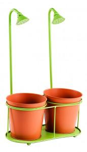 Doppel - Pflanztopf aus Metall mit Dusche, orange / grün