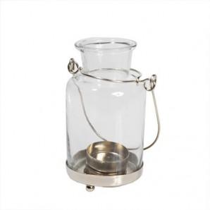 Teelichthalter Glas mit Henkel, 7,5 x 7,5 x 15 cm