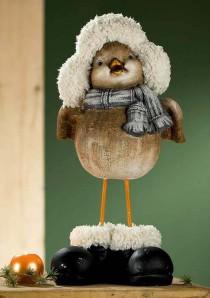 Wintervogel mit Pelzmütze, ca. 46cm hoch