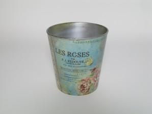 Kübel Rosendesign türkis, Ø 18cm