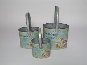 Topf oval mit Bügel im Rosendesign, türkis, 3er-Set