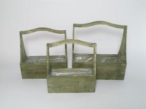 Kasten mit Henkel aus Holz, 3er-Set