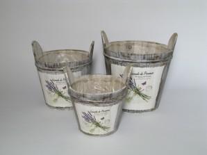 "Kübel ""Lavendel"", 3er-Set zum Bepflanzen"
