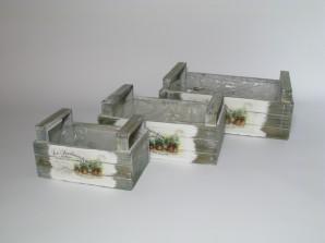 Kiste grau, 3er-Set zum Bepflanzen
