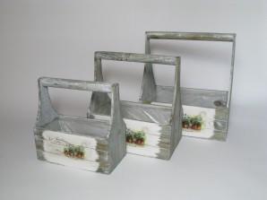 Kisten grau/weiss mit Henkel, 3er-Set