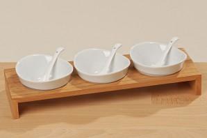 "Set Schale ""Clear"", Holz/Porzellan, 7-teilig, 33cm lang"