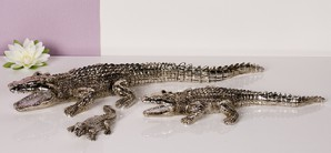 Krokodil mittel, ant. silber, 43 cm lang