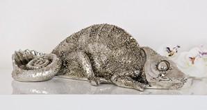 Chamäleon, antik-silber, 36 cm lang