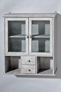 "Wandschrank ""Rena"", Holz/Glas grau, 62cm hoch"
