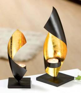 Spiralleuchter aus Metall, schwarz/gold, ca. 20cm hoch