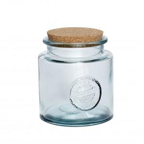 Glas mit Korkdeckel, Recyclingglas