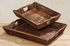 Tablett Holz/Fell gross