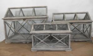 Gewächshaus Holz/Glas, 66 cm breit, braun
