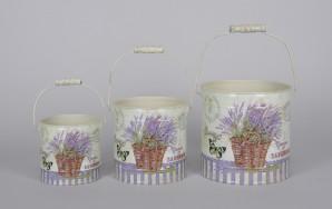 Eimer Lavendel, 3er-Set, creme/lila