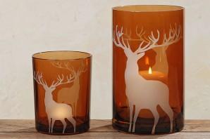 """Windlicht """"Hirsch"""", 13cm hoch, lackiertes Glas braun"""
