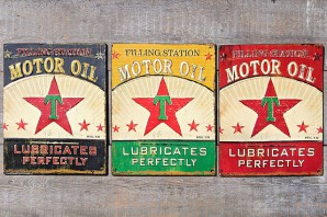 "Metallschild ""Motor Oil"", sortiert (blau, gelb oder rot), 40x32cm, je"