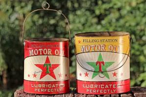 """Metalleimer gross mit Henkel """"Motor Oil"""", sortiert (gelb oder rot), je"""