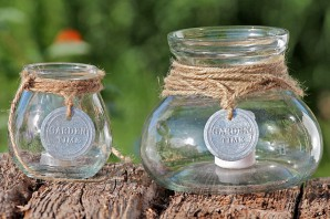 """Windlicht """"Garden Time"""" aus Glas, 15cm hoch"""