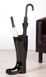 """Schirmständer """"Stiefel"""", schwarz, Keramik, 45 cm hoch"""