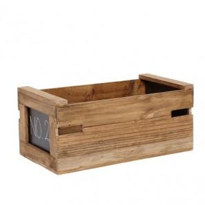Ablagebox mit Tafel zum Beschriften, Holz natur