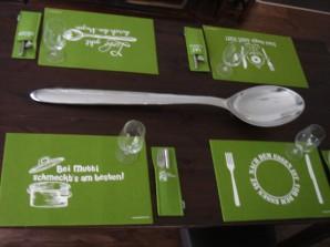 Platzset grün aus Filz, sortiert, 4 verschiedene Designs, je