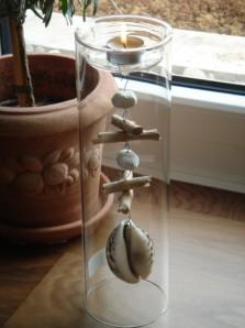 Teelichthalter ROMO aus Glas, large, mit Muscheln