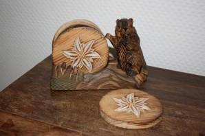 """Untersetzer """"Murmeltier"""" aus Holz"""