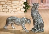 Figur Panther laufend, silberfarben, 82cm lang