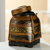 Reiskorb mit Deckel, Ornament, 28 cm hoch