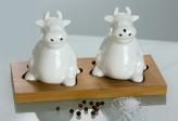 Porzellan-Set Salz und Pfeffer auf Holztablett, 9 x 8 cm