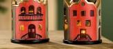 Windlicht Haus, 2 unterschiedliche Motive, je