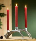 3-flammiger Leuchter Geweih, silberfarben