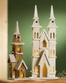 10-LED Kapelle weiss oder braun, ca. 12x40cm