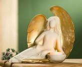 Teelichthalter Engel Christa, ca. 30cm lang, sitzend, cremeweiß