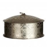 Metalldose rund, antiksilber, Ø 18 x H 10 cm
