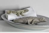 Gecko groß, silberfarben, Antik-Look, 29 cm lang