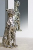 Gepard sitzend groß, antiksilber, 56 cm hoch