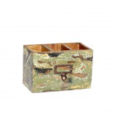 Ablagebox, 3geteilt, Shabby chic, farbiges Holz