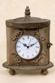 "Uhr ""Ornament"" 29cm hoch, Glas/Holz braun"