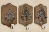 "Haken ""Ornament"", sortiert, Holz/Metall antikbraun, je"
