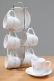 Tasse/Untertasse auf Metallständer, 13-teiliges Set