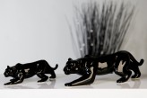 Leopard aus Porzellan, schwarz glänzend, 23,5cm lang