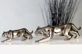 Leopard klein aus Porzellan, silber glänzend, 23,5cm lang