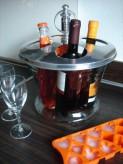 Weinkühler / Sektkühler für 4 Flaschen, Alu/Glas