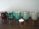 Teelichtgläser DALINDA silber/grau, 5er-Set, 6x6,5cm